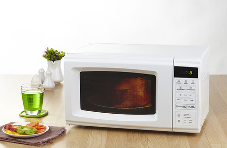 microwave on a table
